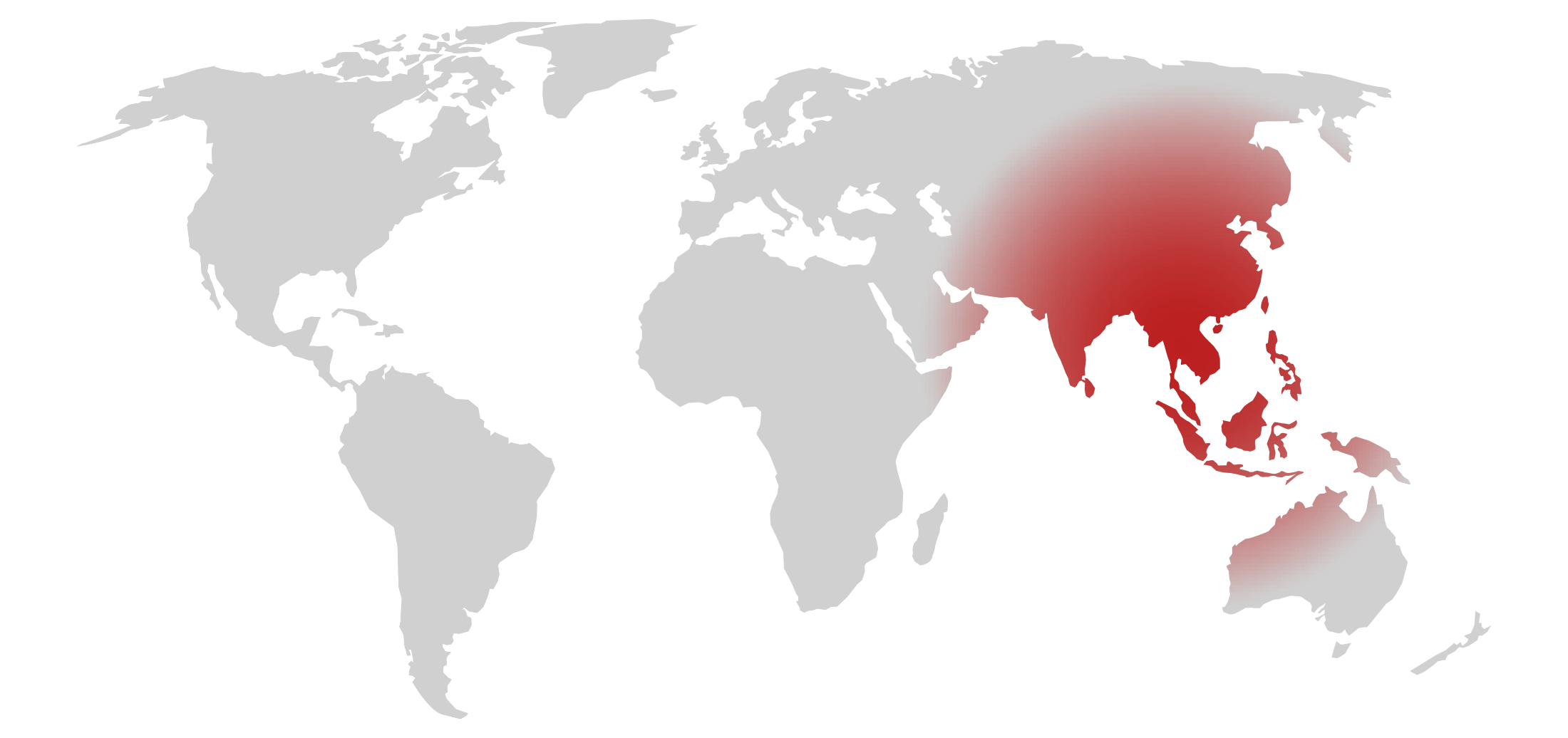 Map showing the area of Asia